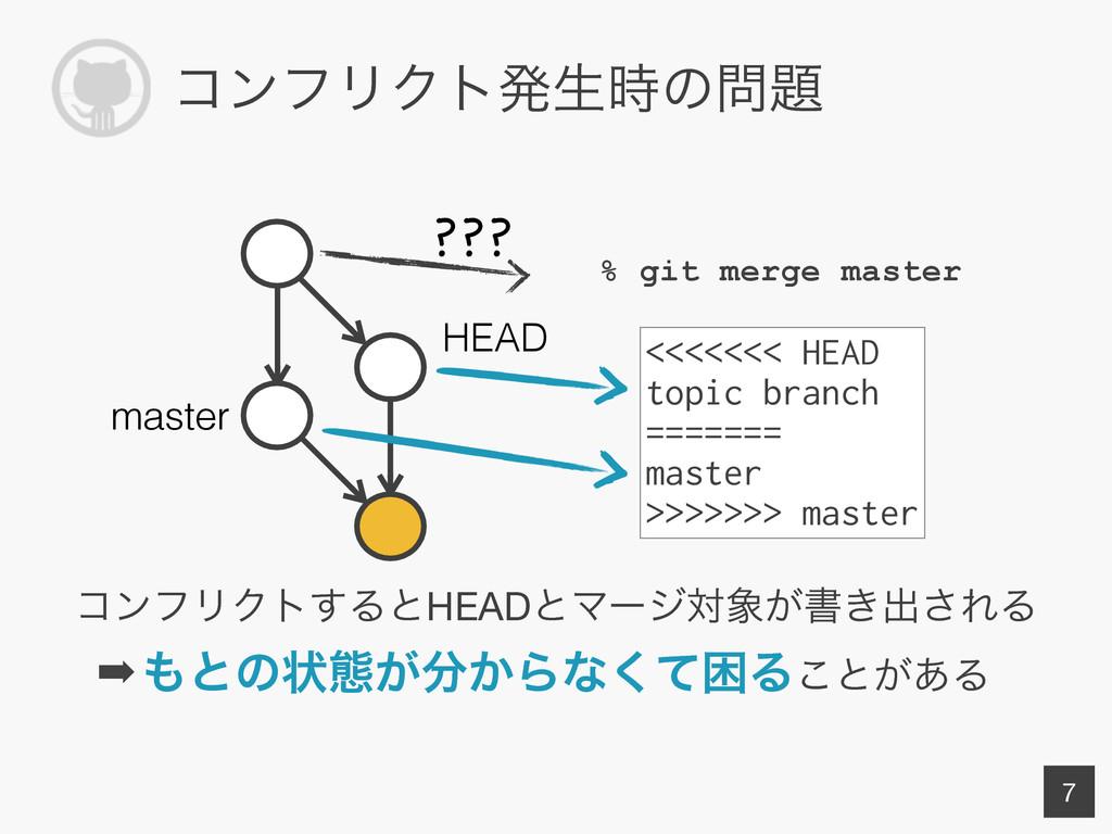ίϯϑϦΫτൃੜͷ % git merge master 7 HEAD master <...
