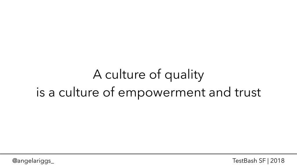 @angelariggs_ TestBash SF | 2018 A culture of q...