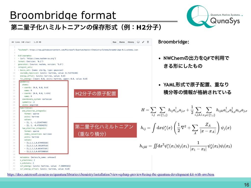 Broombridge format Broombridge: • NWChemͷग़ྗΛQ#Ͱ...