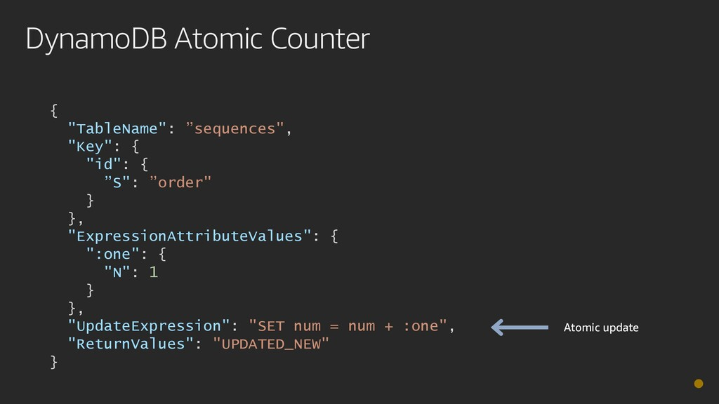 "DynamoDB Atomic Counter { ""TableName"": ""sequenc..."