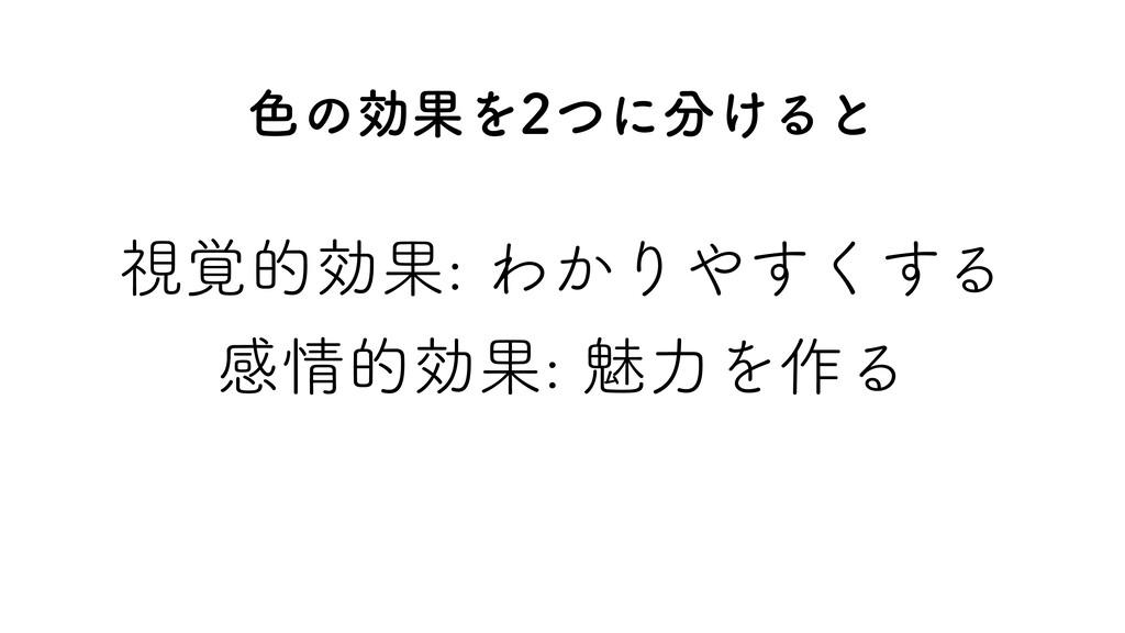 ࢹ֮తޮՌΘ͔Γ͘͢͢Δ ײతޮՌັྗΛ࡞Δ ৭ͷޮՌΛͭʹ͚Δͱ