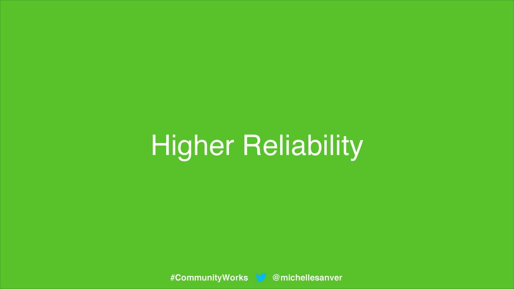 Higher Reliability @michellesanver #CommunityWo...