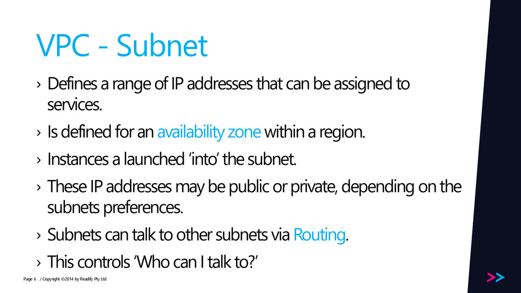 Page VPC - Subnet › Defines a range of IP addre...