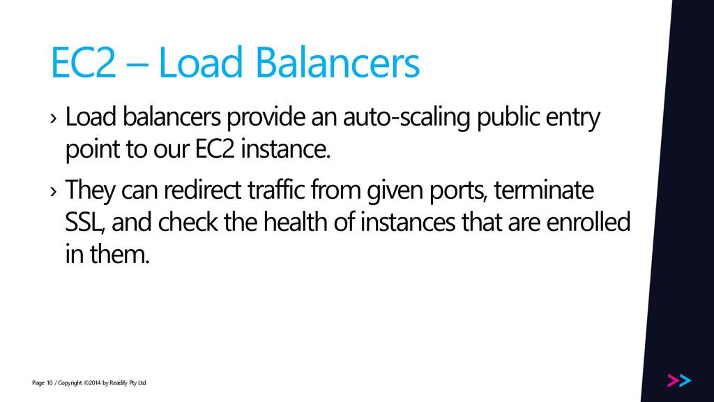Page EC2 – Load Balancers › Load balancers prov...