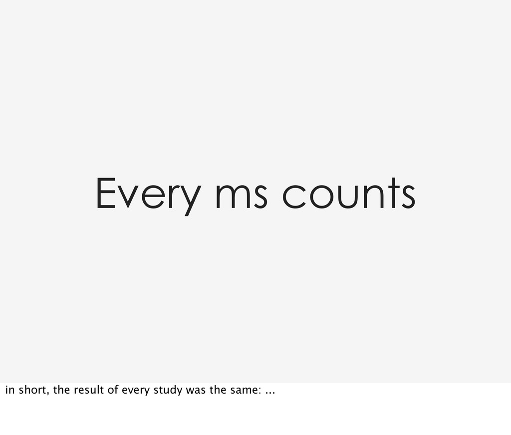 Every ms counts in short, the result of every s...