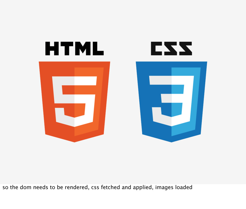 so the dom needs to be rendered, css fetched an...