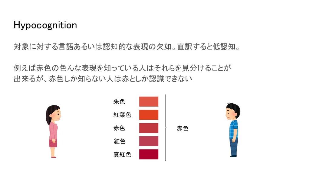Hypocognition 対象に対する言語あるいは認知的な表現の欠如。直訳すると低認知。...