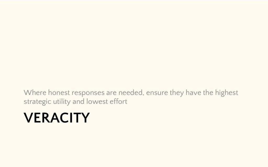 VERACITY Where honest responses are needed, ens...