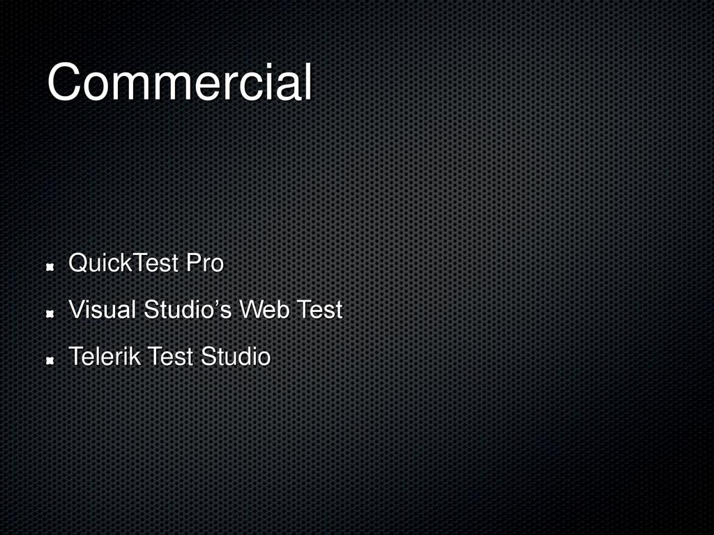 Commercial QuickTest Pro Visual Studio's Web Te...