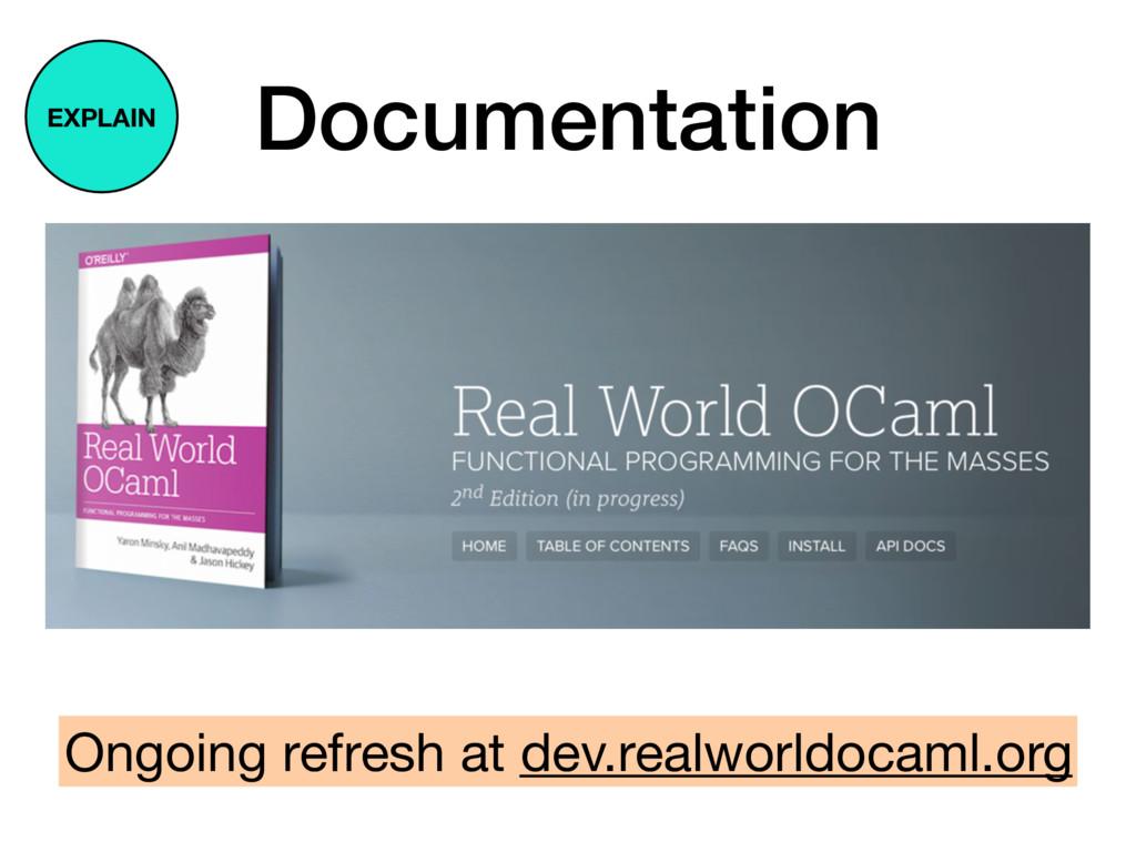 Documentation Ongoing refresh at dev.realworldo...