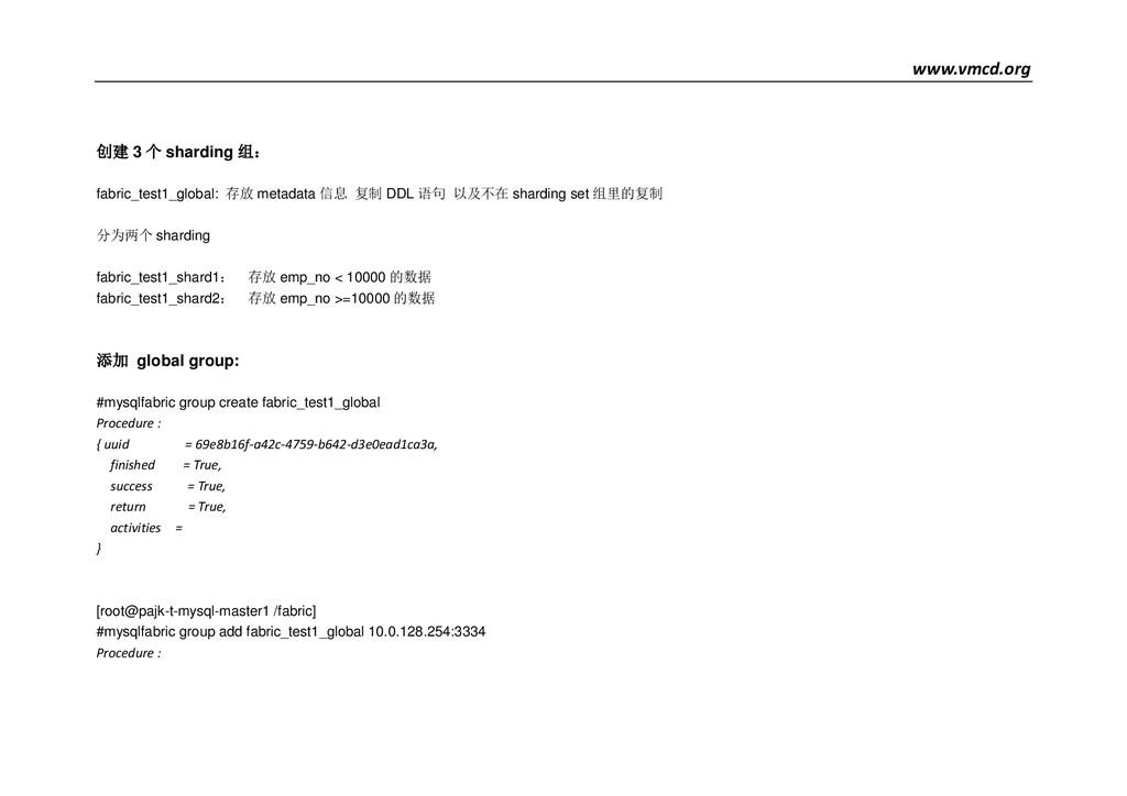 www.vmcd.org 创建 3 个 sharding 组: fabric_test1_gl...