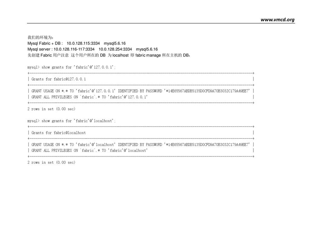 www.vmcd.org 我们的环境为: Mysql Fabric + DB : 10.0.1...