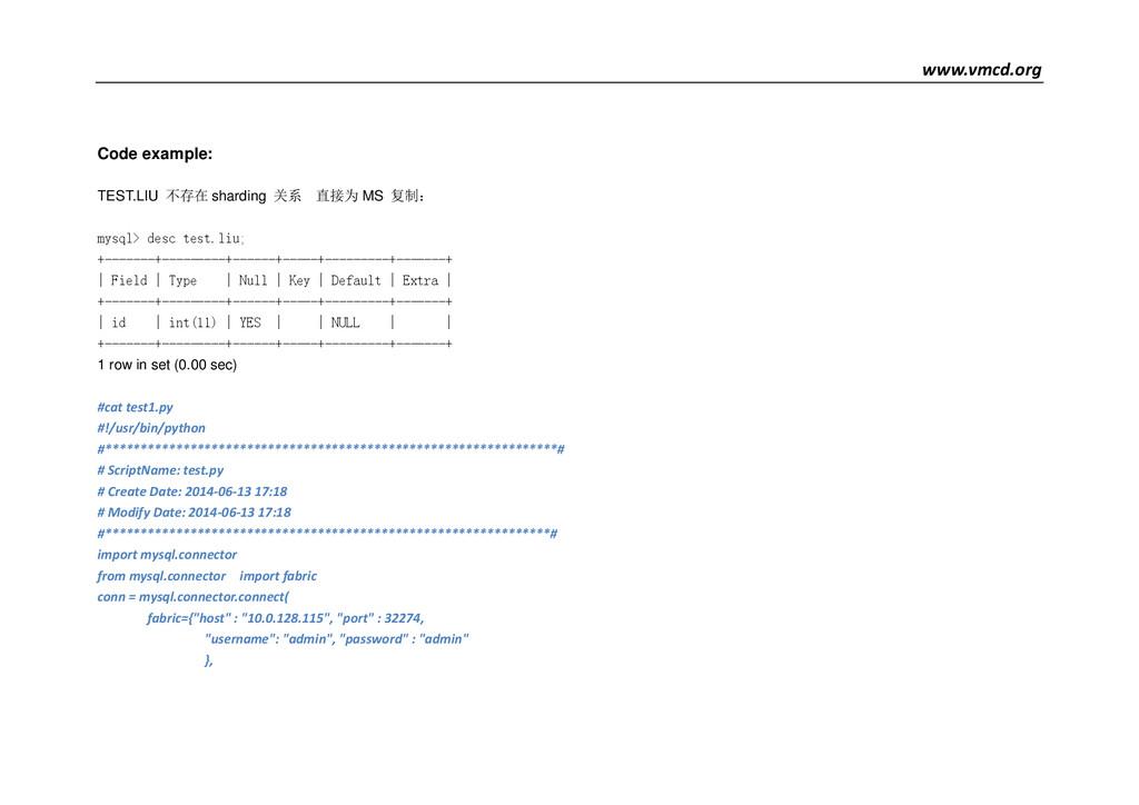 www.vmcd.org Code example: TEST.LIU 不存在 shardin...