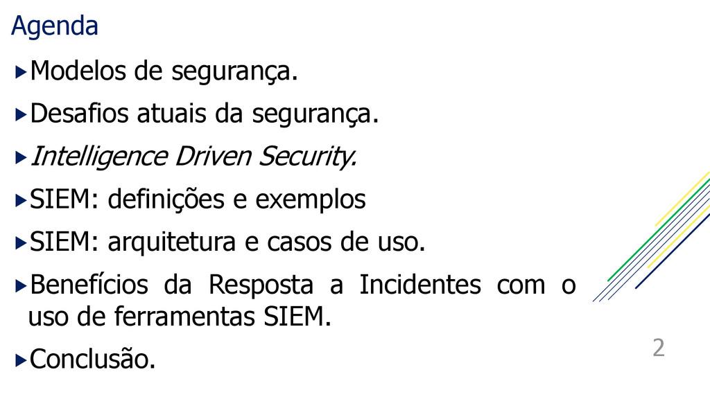 Agenda Modelos de segurança. Desafios atuais ...