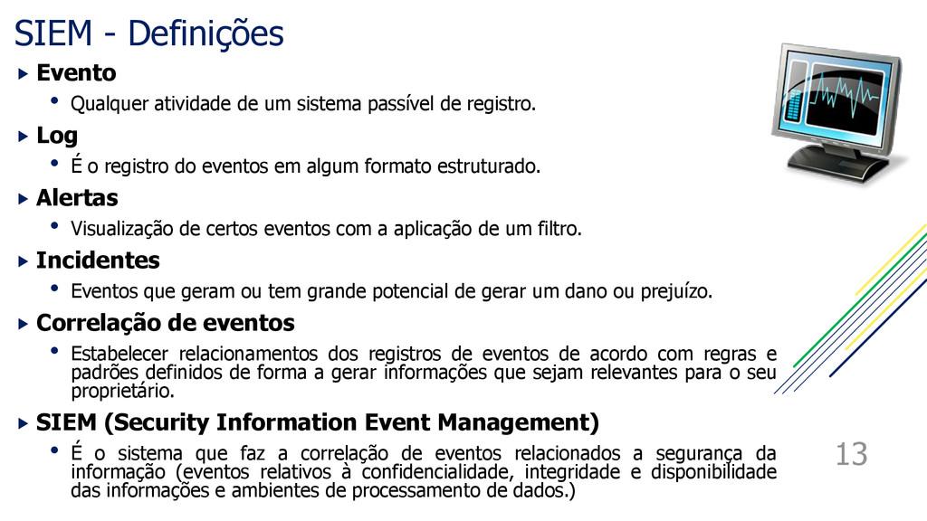 SIEM - Definições  Evento • Qualquer atividade...