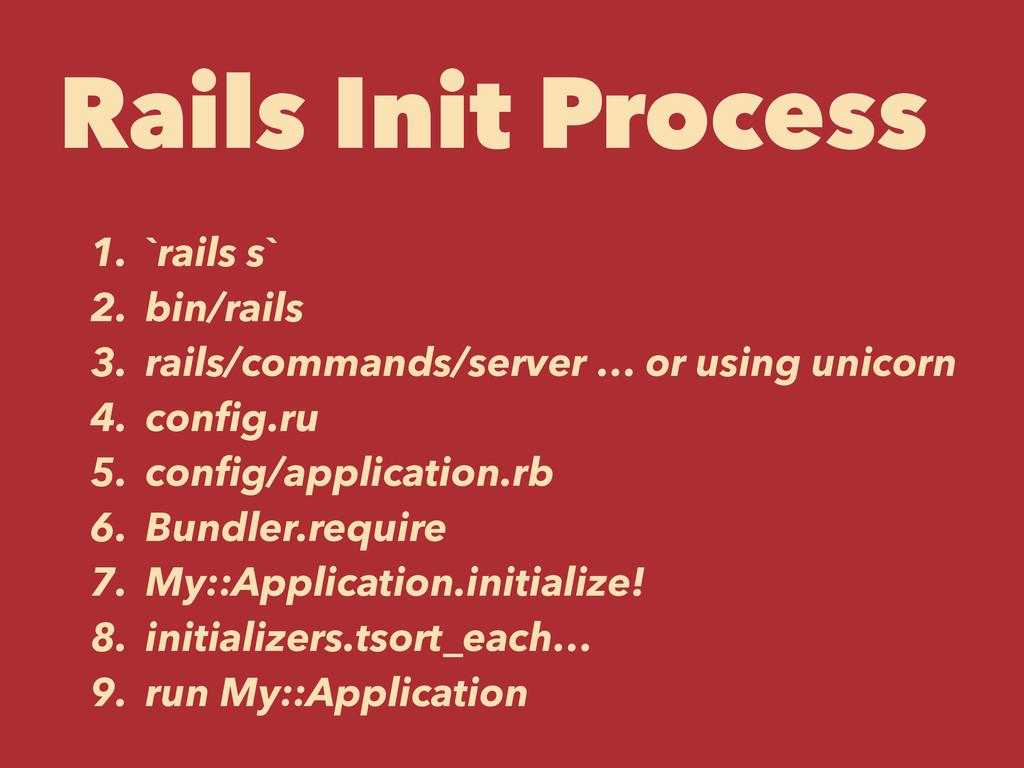 Rails Init Process 1. `rails s` 2. bin/rails 3....