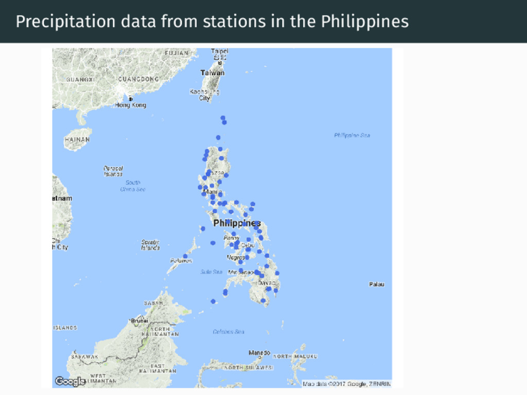 Precipitation data from stations in the Philipp...
