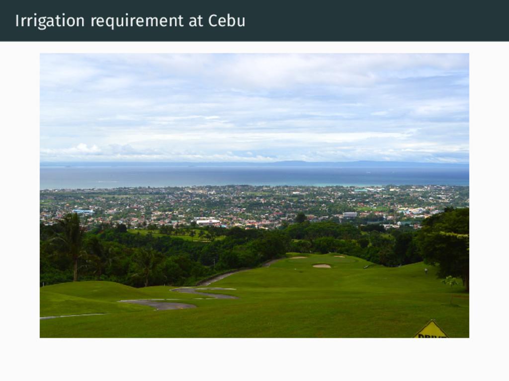 Irrigation requirement at Cebu