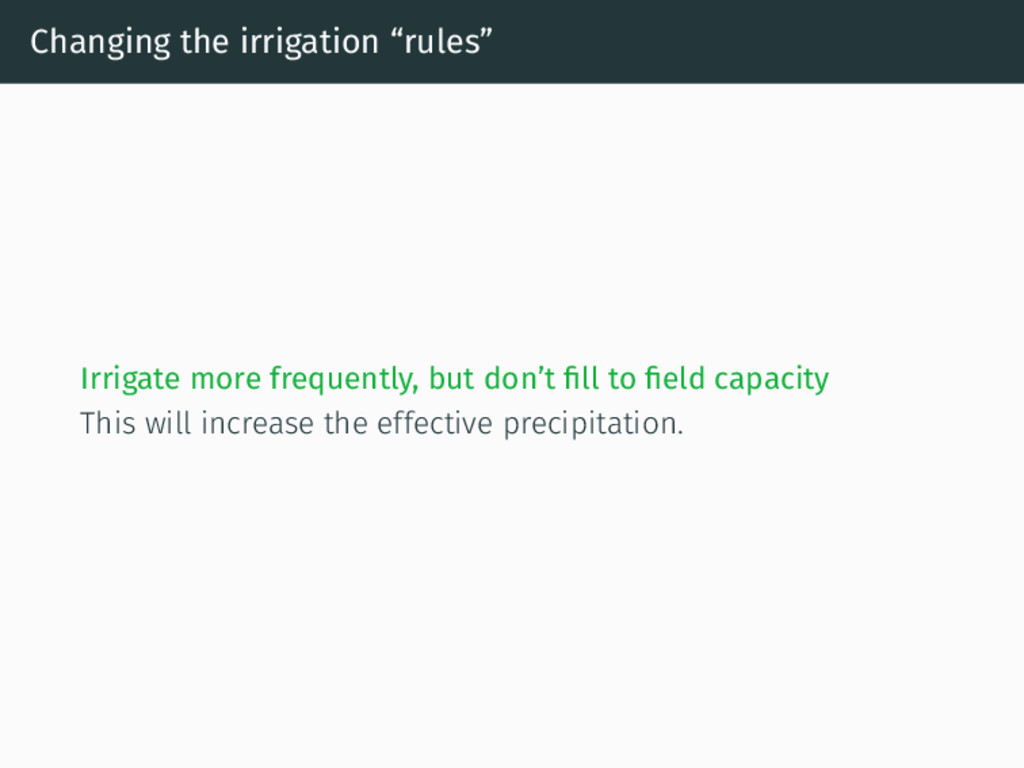 """Changing the irrigation """"rules"""" Irrigate more f..."""