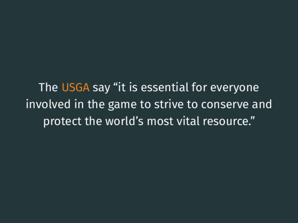 """The USGA say """"it is essential for everyone invo..."""