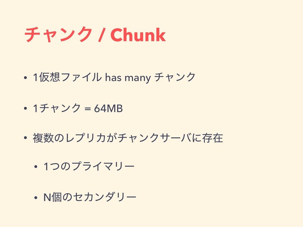 νϟϯΫ / Chunk • 1ԾϑΝΠϧ has many νϟϯΫ • 1νϟϯΫ = ...