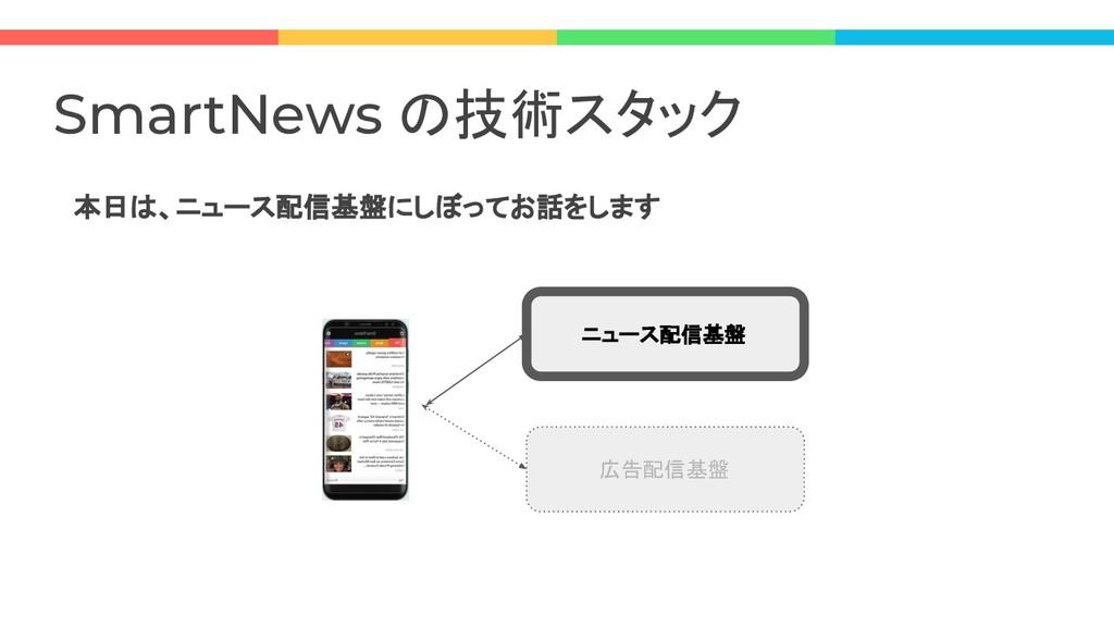 本日は、ニュース配信基盤にしぼってお話をします SmartNews の技術スタック ニュース配...