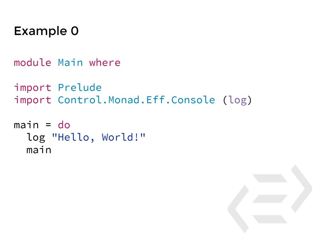Example 0 module Main where import Prelude impo...