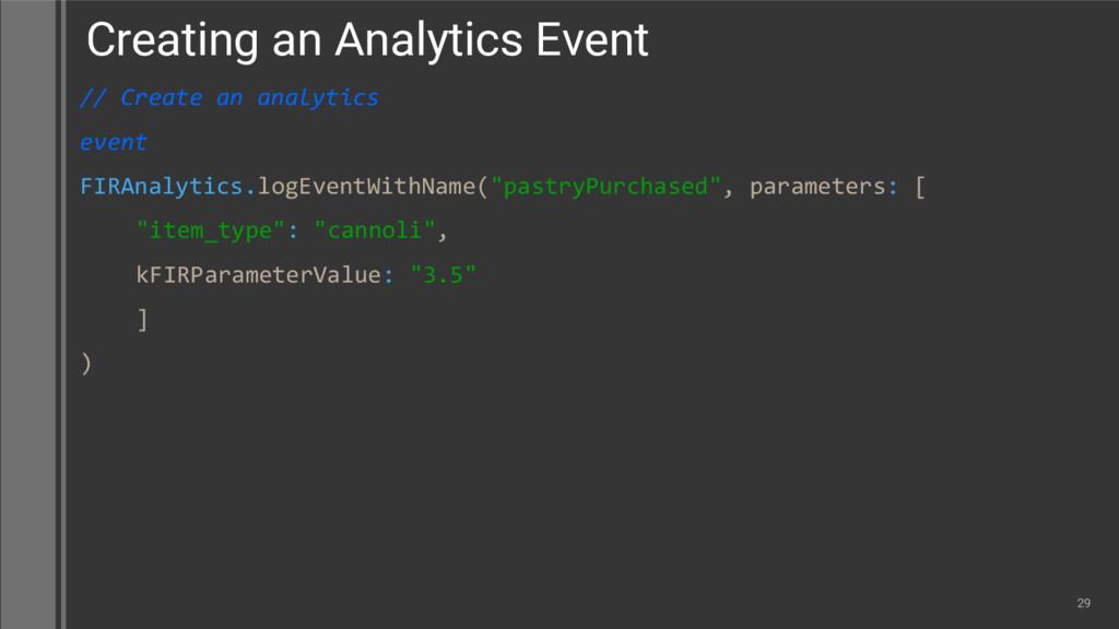 // Create an analytics event FIRAnalytics.logEv...