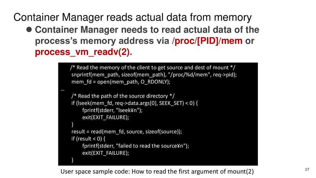 Container Manager reads actual data from memory...