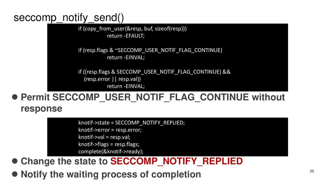 seccomp_notify_send() ⚫ Permit SECCOMP_USER_NOT...