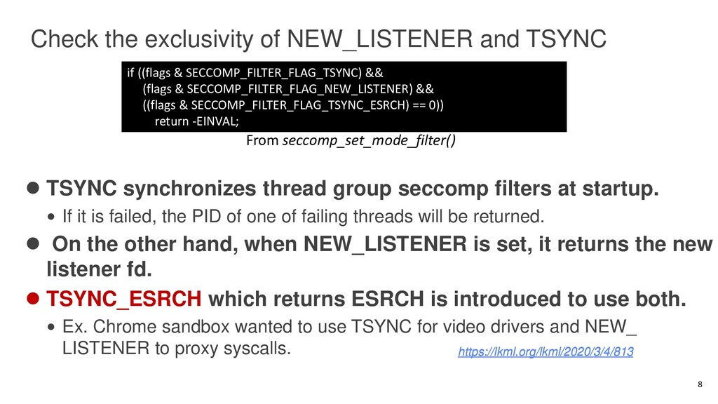 Check the exclusivity of NEW_LISTENER and TSYNC...