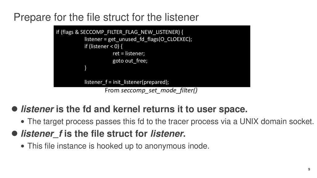Prepare for the file struct for the listener ⚫ ...