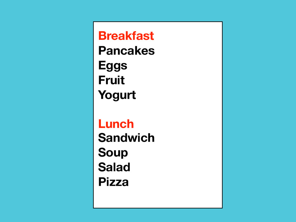 Breakfast Lunch Pancakes Eggs Fruit Yogurt Sand...