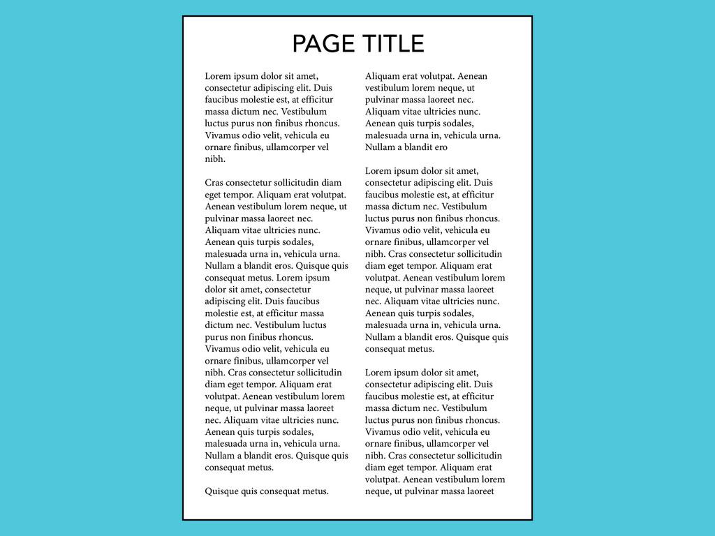 PAGE TITLE Lorem ipsum dolor sit amet, consecte...