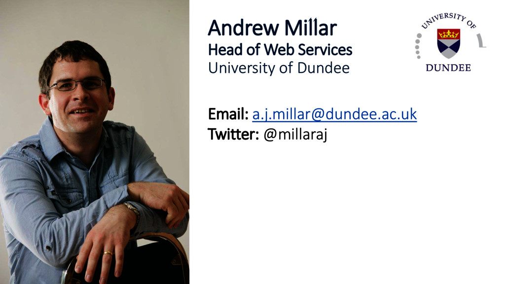 Andrew Millar Head of Web Services University o...