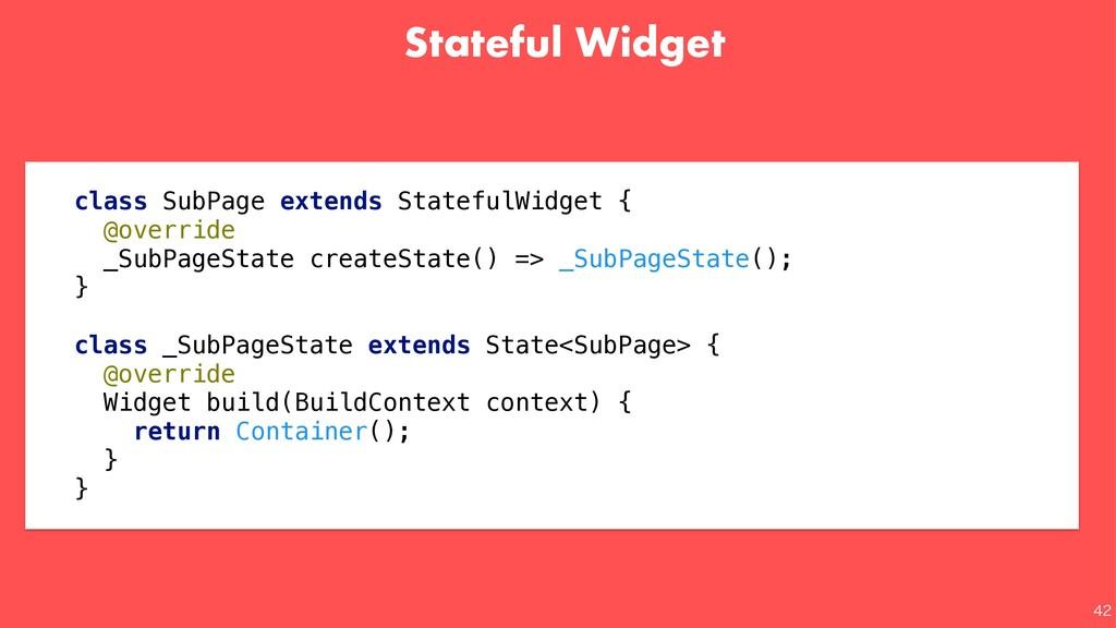 Stateful Widget  class SubPage extends Statef...