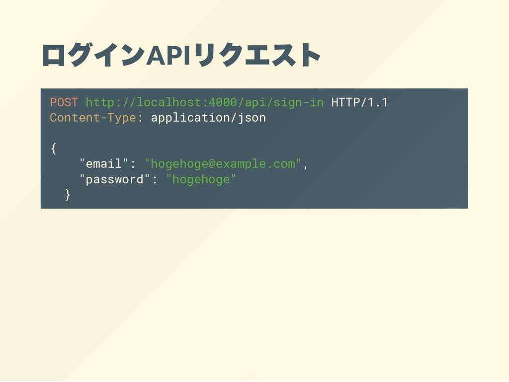 ログインAPI リクエスト POST http://localhost:4000/api/si...