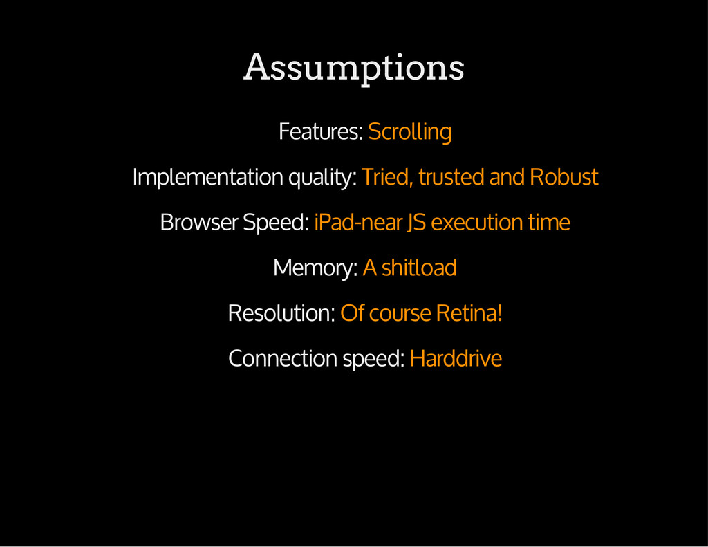 Assumptions Features: Scrolling Implementation ...