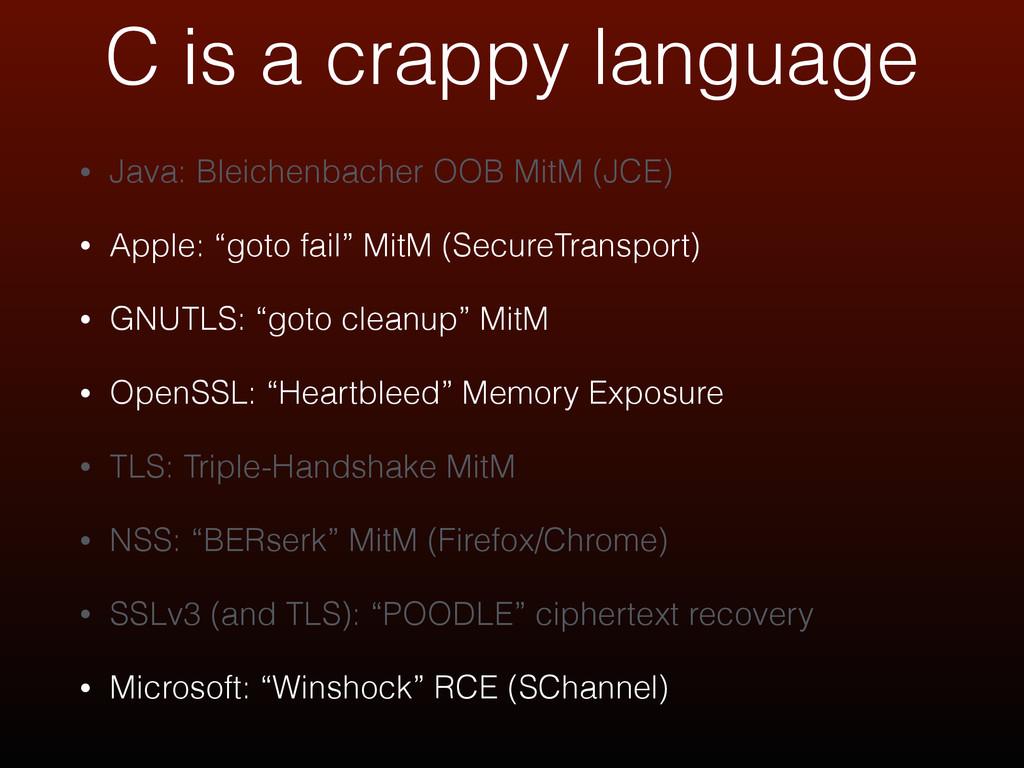 • Java: Bleichenbacher OOB MitM (JCE) • Apple: ...