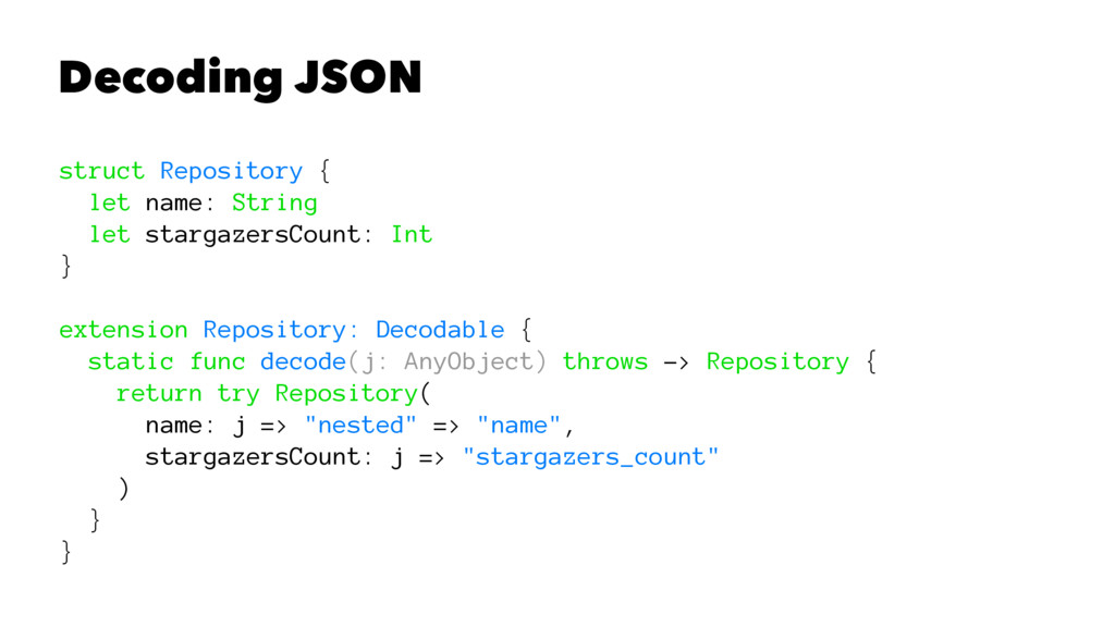 Decoding JSON struct Repository { let name: Str...