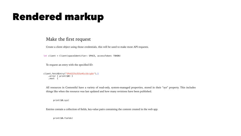 Rendered markup