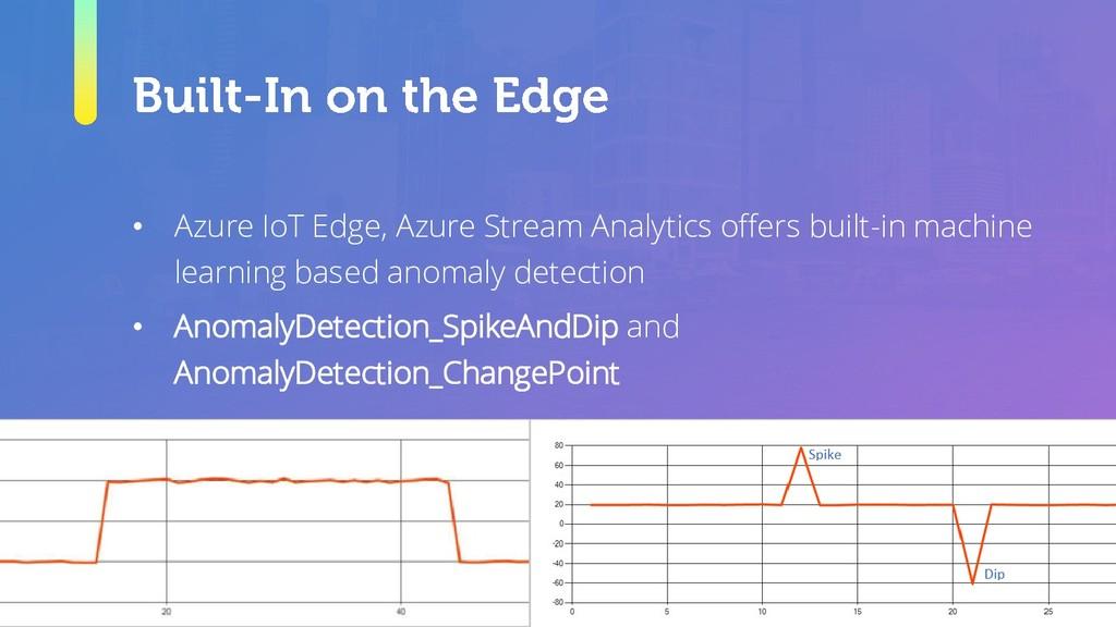 • Azure IoT Edge, Azure Stream Analytics offers...