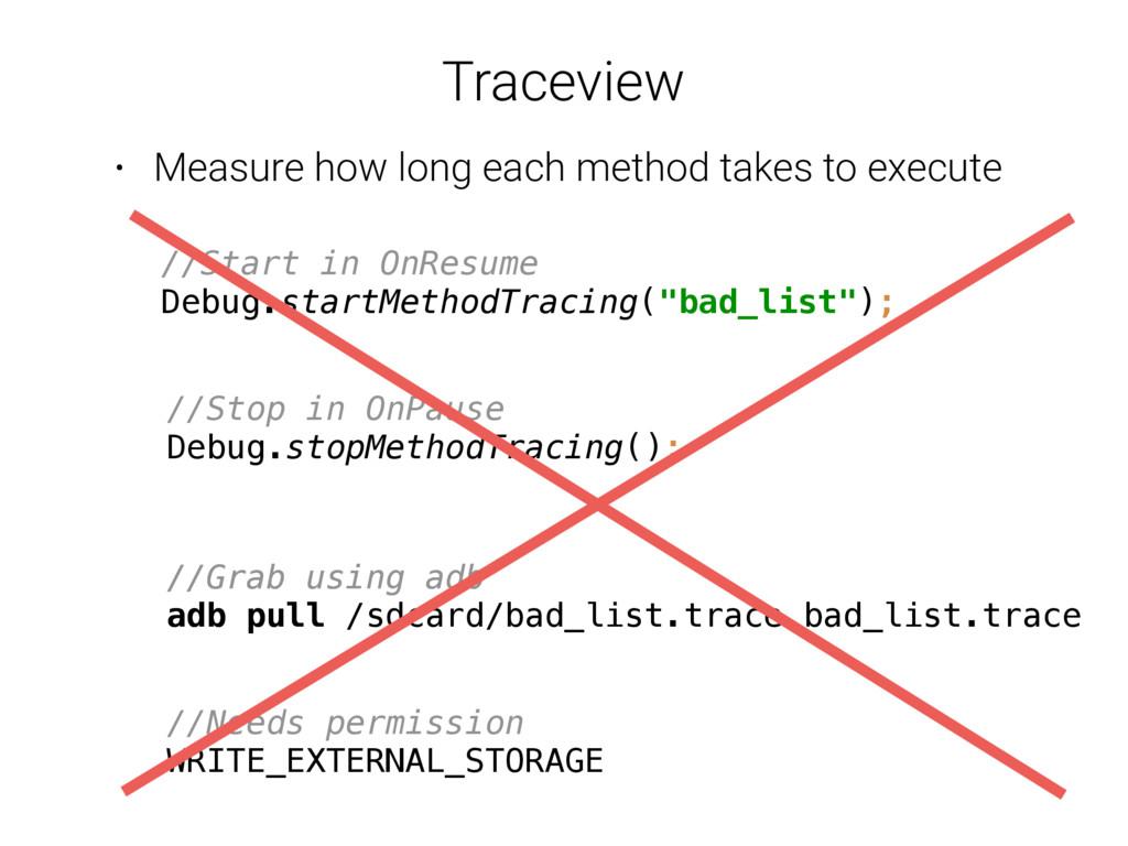 Traceview //Start in OnResume Debug.startMetho...
