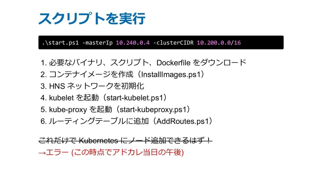 スクリプトを実⾏ .\start.ps1 -masterIp 10.240.0.4 -clus...