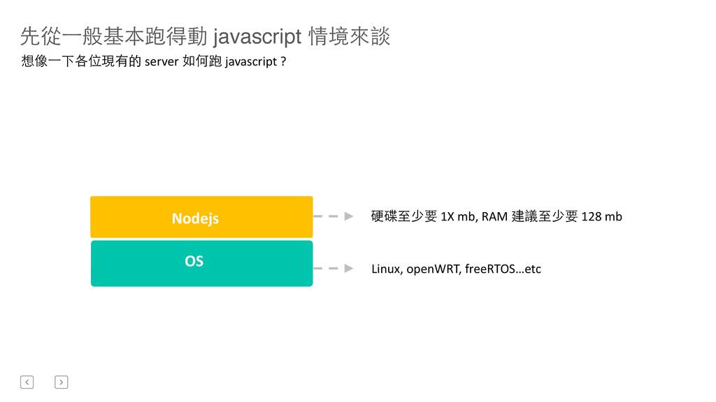 先從⼀一般基本跑得動 javascript 情境來談 Nodejs OS  Linux,...