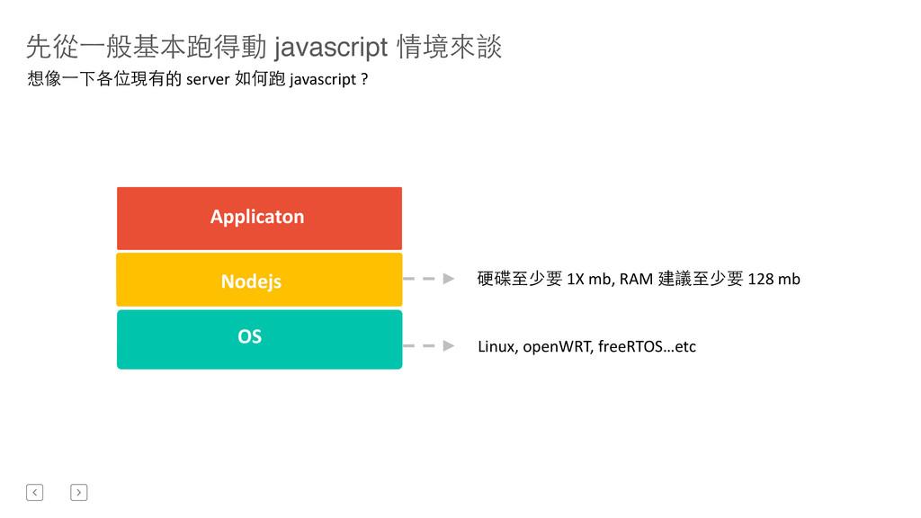 先從⼀一般基本跑得動 javascript 情境來談 Nodejs OS  Applic...