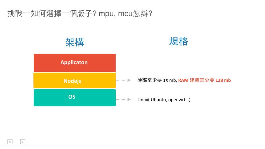 挑戰⼀一如何選擇⼀一個版⼦子? mpu, mcu怎辦? Nodejs OS  Appli...