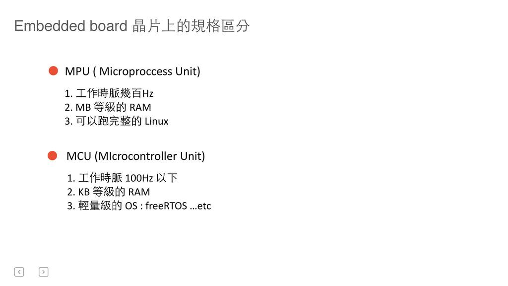 Embedded board 晶⽚片上的規格區分 MPU ( Microprocc...