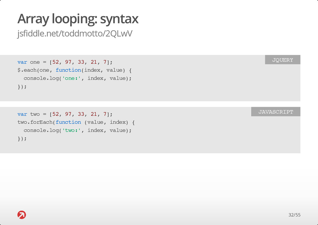 Array looping: syntax jsfiddle.net/toddmotto/2Q...