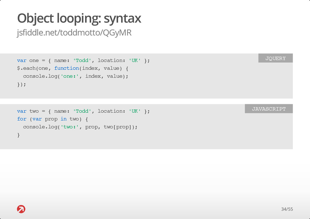 Object looping: syntax jsfiddle.net/toddmotto/Q...